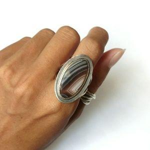 Jewelry - Vintage ring sterling silver Botswana agate stripe